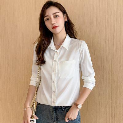 加绒雪纺衬衫女长袖2020秋冬新款设计感小众白色衬衣气质显瘦上衣