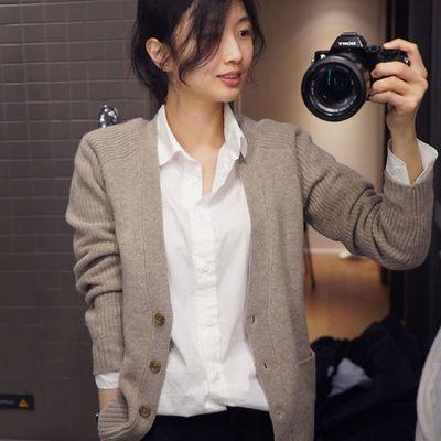 春秋新款羊绒开衫女毛衣短款宽松厚百搭羊毛空调针织衫灰色外套