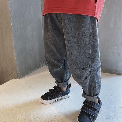 男童牛仔裤春秋款2020儿童弹力哈伦裤洋气韩版宽松版阔腿儿童长裤