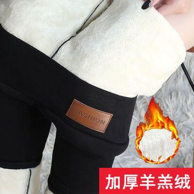 加绒加厚保暖长裤2020冬季新款时尚高腰打底裤显瘦女士羊羔绒裤子