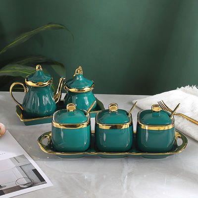 调味罐陶瓷盒料瓶油壶厨房家用祖母绿四件套装北欧轻奢盐味精糖罐