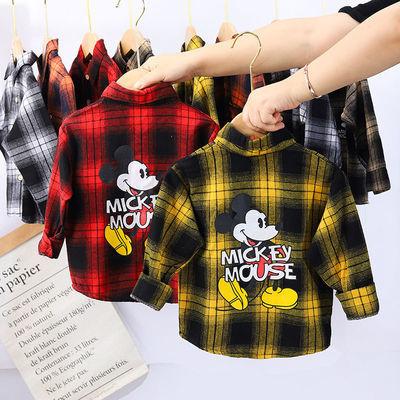 男童女童格子衬衫春秋款儿童洋气时尚秋季长袖衬衣宝宝可爱上衣服