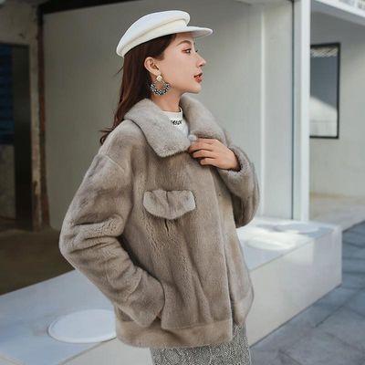 2020女士短款长袖翻领貂皮新款大衣秋冬水貂毛母貂整貂外套