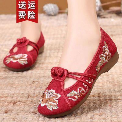 中国风老北京女单鞋绣花鞋平底鞋中老年妈妈鞋复古民族风圆头浅口