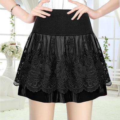 春季裙子新品黑色蓬蓬裙欧根纱短裙秋冬松紧腰半身裙女士半裙