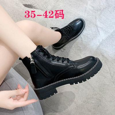 马丁靴女网红2020新款秋冬季英伦风厚底短靴平底增高韩版学生单靴