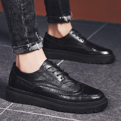 布洛克男鞋英伦风潮流秋季男士休闲黑色皮鞋韩版百搭青年透气潮鞋