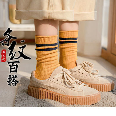 袜子女学院风韩版长筒袜秋冬季厚款中筒袜女堆堆袜网红款五双装