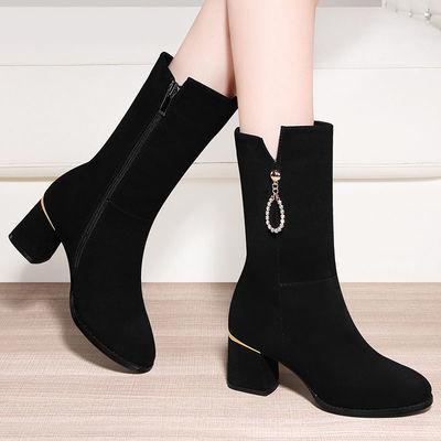 中筒靴子女鞋2020新款秋冬季马丁靴加绒半筒冬鞋瘦瘦短靴磨砂皮鞋