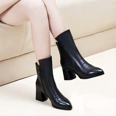 短靴女粗跟2019春秋马丁靴女英伦风中跟单鞋女加绒软皮靴中筒靴女
