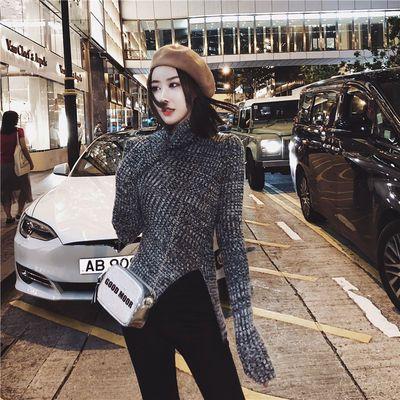 高领毛衣女ins中长款秋冬套头韩版学生修身前短后长灰色针织衫潮