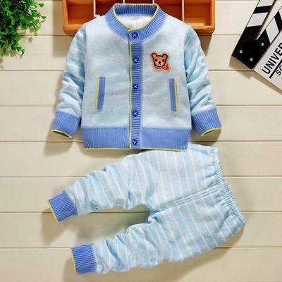 婴儿保暖衣套装加绒加厚针织衫男女小童秋冬装新款开衫小孩子衣服