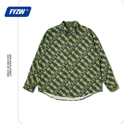 FYZW潮牌2020年秋冬款国潮街头嘻哈外星人印花男女潮流宽松衬衫