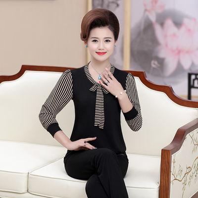 【奇卡索】妈妈装长袖T恤女春季时尚上衣中年女装春装大码打底衫