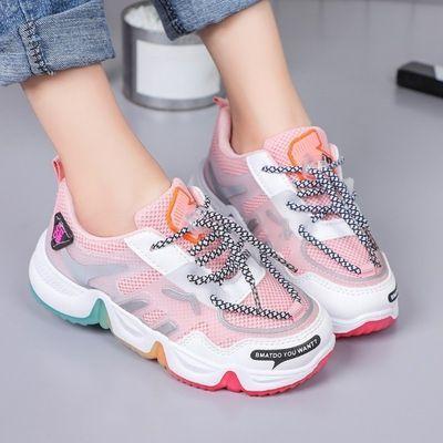 女童运动鞋春秋新款公主鞋网面跑步鞋软底透气中大童学生鞋跑步鞋