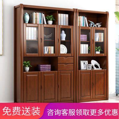 实木书柜 橡木转角带抽带玻璃门书橱 书桌套装组合储物柜墙角书柜