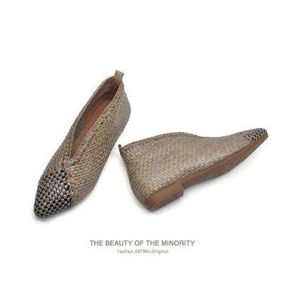 Artmu阿木原创复古靴子真皮手工编织女鞋尖头平底裸靴2020秋新款