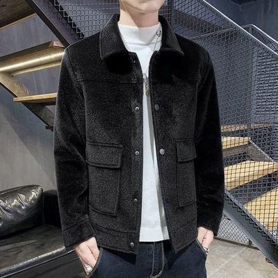 秋冬季短款毛呢大衣男士翻领修身外套青年韩版修身呢子夹克上衣潮