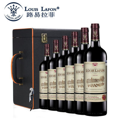 法国原瓶进口红酒 路易拉菲传承干红葡萄酒6瓶整箱装送礼皮箱酒具