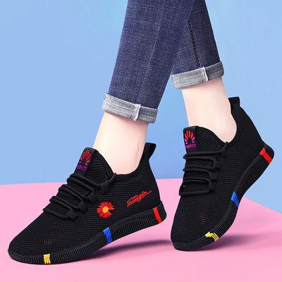 2020年新款运动鞋网鞋春秋季百搭飞织透气软底休闲跑步旅游女鞋子