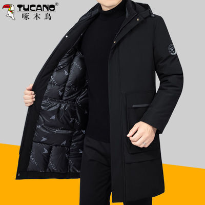 啄木鸟中年男士棉衣加厚冬装外套过膝盖羽绒棉服爸爸装长款棉袄