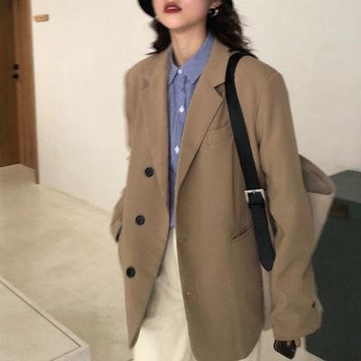 17738/黑色西装外套女2020秋冬新款韩版宽松时尚单排扣卡其色白色西服