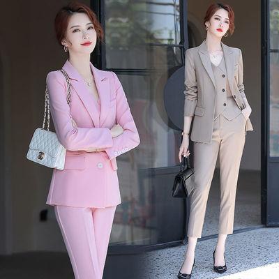 粉色西装套装女韩版时尚秋冬新款气质御姐范洋气OL职业装马甲正装