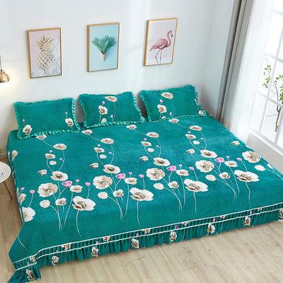 水晶绒床盖毛毯大炕盖单人双人床罩榻榻米农村炕床四季毯防滑床单