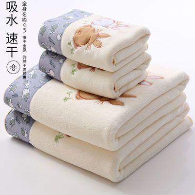 大浴巾毛巾成人男女吸水比纯棉柔软洗脸洗澡家用速干网红三件套装