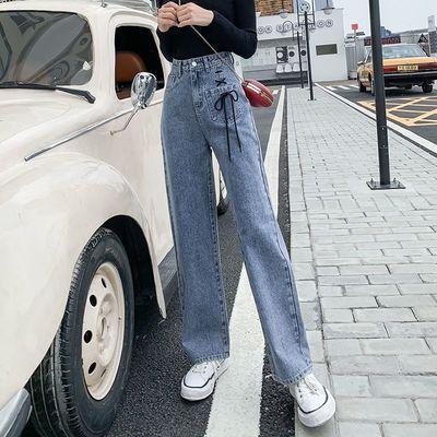 70-160斤矮小个子九分阔腿直筒牛仔裤子女学生韩版宽松大码胖mm潮