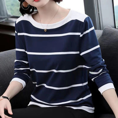 【含棉】蓝白条纹t恤女士长袖宽松2020秋冬季新款体恤大码打底衫