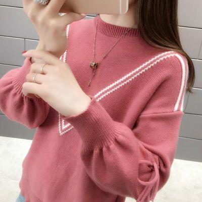 秋冬季新款针织打底衫圆领套头外穿毛衣女宽松网红短款纯色针织衫