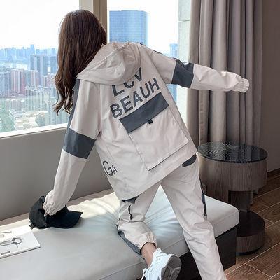 工装套装女春秋运动服2020新款多袋潮牌休闲中学生情侣宽松两件套