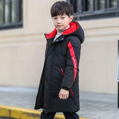 男童中长款加厚保暖棉服2020韩版时尚修身织带棉袄5-13岁