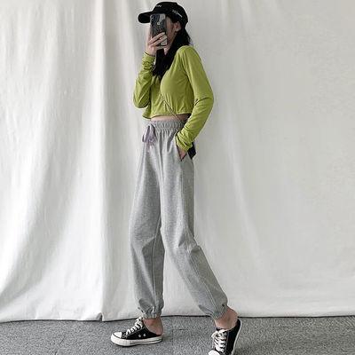 灰色运动裤女 宽松大码百搭学生休闲哈伦裤子2020新款ins潮束脚裤
