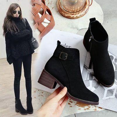 靴子女短靴2020秋冬新款网红马丁靴女瘦瘦靴英伦风高跟粗跟百搭女