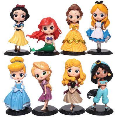 迪士尼Q版爱丽丝美人鱼灰姑娘贝儿长发白雪公主摆件模型手办礼物
