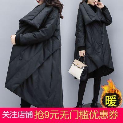 2020新款女冬宽松大码中长款棉衣棉服女黑色显瘦斗篷大衣外套加厚
