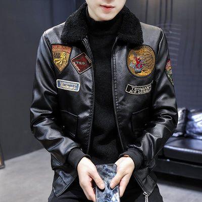 秋冬季皮衣男士2020新款修身韩版潮流帅气刺绣款皮夹克外套翻领男