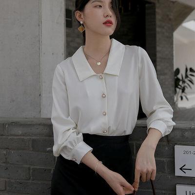 17819/娃娃领白衬衫女设计感小众轻熟职业气质复古港味衬衣别致上衣
