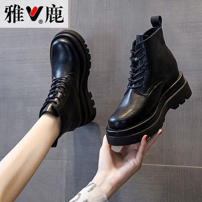 雅鹿内增高马丁靴女英伦风真皮春秋季单靴黑色厚底冬季小个子短靴