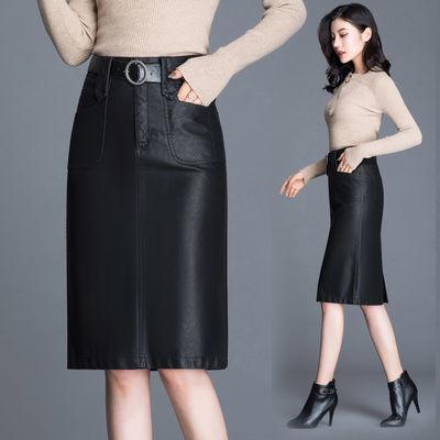 69069/【送皮带】中长款皮裙女秋冬2021新款pu皮高腰半身裙开叉一步裙子