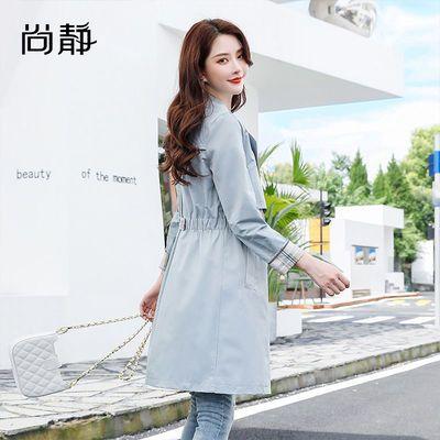 尚静 风衣女2020秋装新款韩版收腰显瘦通勤双排扣中长款风衣外套