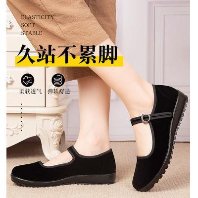 老北京布鞋女平跟广场舞酒店工作鞋松糕软底鞋厚底妈妈休闲黑布鞋