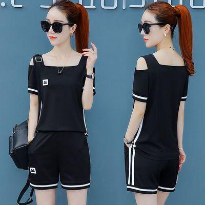 运动套装女夏2020新款韩版宽松短袖短裤时尚两件套跑步服休闲套装