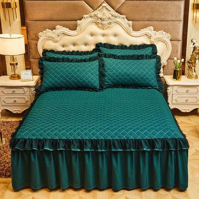 57331/夹棉蕾丝床裙加厚加棉床罩单件加厚床垫套床笠三件套单双人床裙