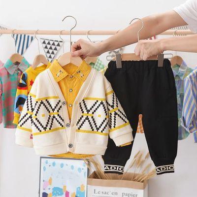 宝宝秋装男童套装2020新款潮流婴儿衣服洋气男小童针织开衫三件套