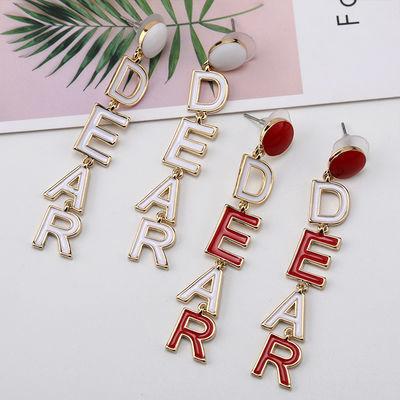 韩版流行时尚新款耳环 气质AB款缎带耳环 字母DEAR甜美耳饰品