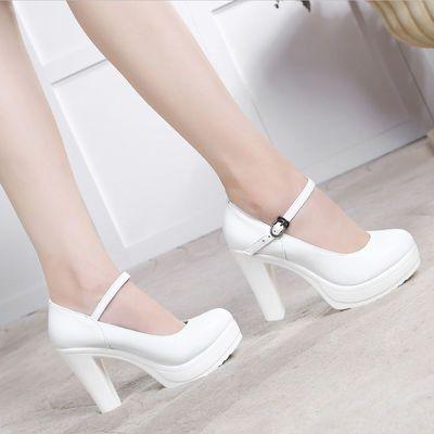 春季模特旗袍t台走秀白色防水台高跟鞋粗跟真皮圆头单鞋大码10cm