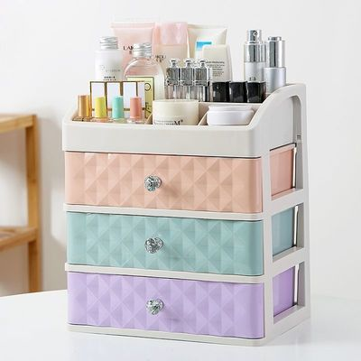 抽屉式化妆品收纳盒护肤品口红化妆整理箱桌面储物盒梳妆台置物架